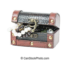 Gems in the open wooden chest - Opened wooden chest with...