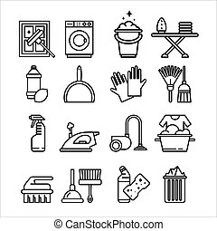 Household Appliances and Tools Icons Set - Household...