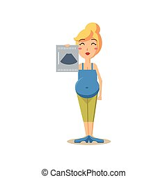 Pregnant Woman Holding Ultrasound Picture Vector...