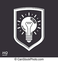 Protection shield with electricity light bulb symbol Vector...