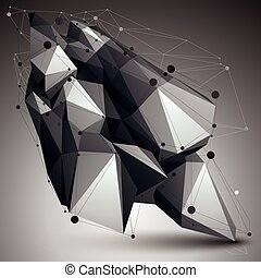 Geometric monochrome polygonal structure with lines mesh,...