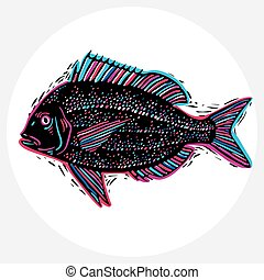 Hand drawn vector simple fish isolated, seafood graphic...