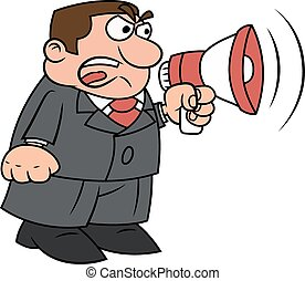Boss yelling into megaphone - Illustration of the angry boss...