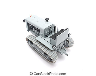 toy caterpillar tractor on a white background