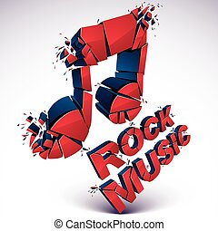 Red 3d vector shattered musical note with specks and...