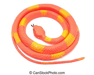 orange toy snake on a white background