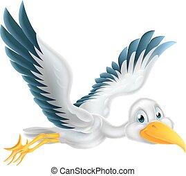 Cartoon stork bird flying