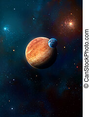 art planets - image of two planets in the starry background