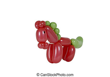 Balloon animal pony with christmas colors