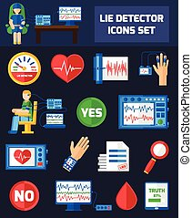 Lie Detector Icons - Set color icons with dark background on...