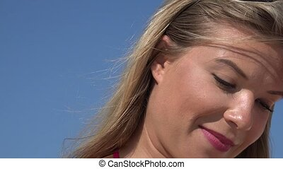 Smiling Adult Blonde Woman