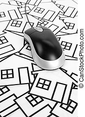 Real Estate Concept - home sign and computer Mouse, Real...