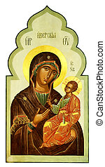 Iberian icon of the Mother of God and Jesus Christ - Iberian...