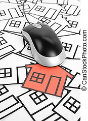 Real Estate Concept - a red home sign and computer Mouse,...