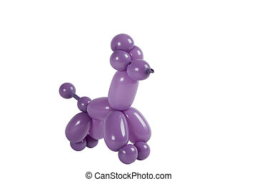 Balloon animal purple twisted poodle isolated on white