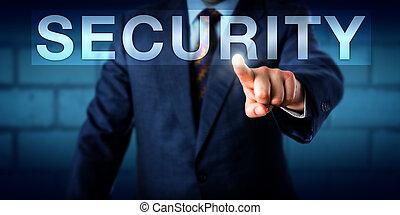 Executive Pressing SECURITY Button Onscreen