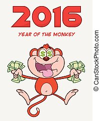 Rich Red Monkey Cartoon Character