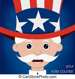 Cute cartoon Uncle Sam US election card in vector format