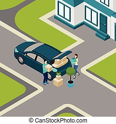People moving From House Isometric Banner - Family moving...