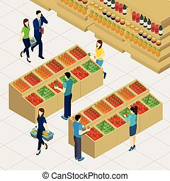 Family Shopping Illustration