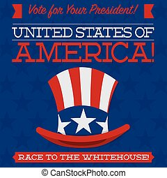 Retro style American election typographic card in vector...