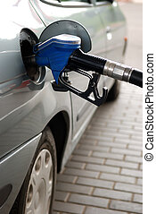 fuel filling at gas station