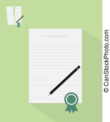 Contract with ribbon illustration
