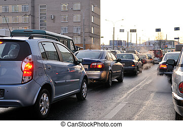 Traffic during the rush hour - cars in traffic jam in a city...