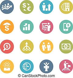 Business Financial - Icons and buttons in different layers,...