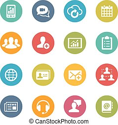 Business Network Technology - Icons and buttons in different...