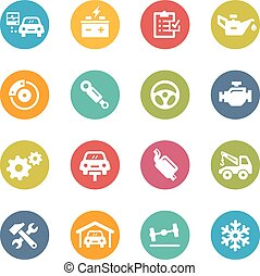 Car Service Icons - Icons and buttons in different layers,...