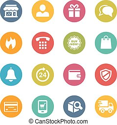 E-Shopping Icons - Icons and buttons in different layers,...