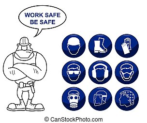 Health and Safety Icons - Construction manufacturing and...