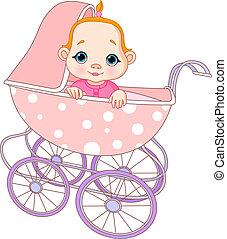 csecsemő, leány, kocsi