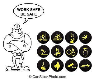 Safety and security icon set isolated on white background...