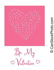 Valentines day card Doodle heart and lettering on white...