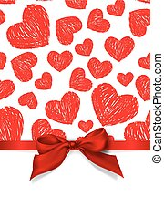 Valentines day card Red scribble hearts and red silk bow on...