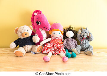 Soft toys in a childs bedroom