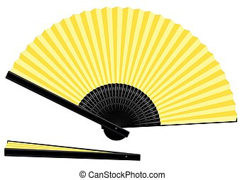 Hand Fan Yellow Open Closed - Yellow hand fan - open and...