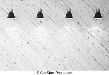 four ceiling lamps - wooden wall and ceiling lamps 3d render...