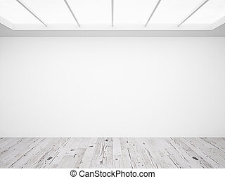white loft - white concrete wall and wooden floor in loft