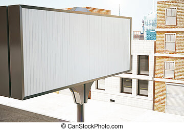 Big blank billboard on the background of the buildings, mock...