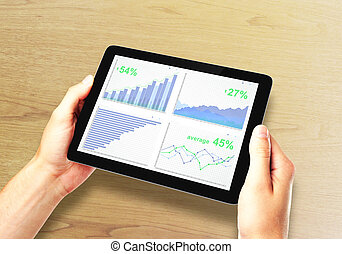 Business chart on digital tablet screen in man hands