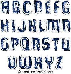Vector bright calligraphic font, handwritten watercolor...