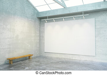Empty loft room with big blank white poster on the wall and wooden bench, mock up