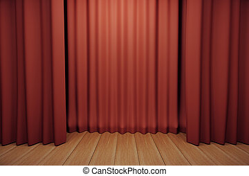 Stage with red scenes and wooden floor