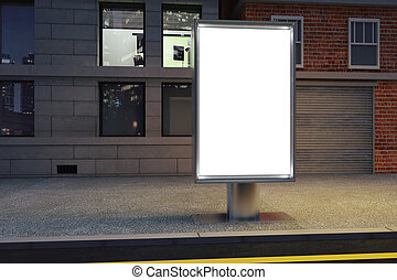 Blank white billboard on the street at night, mock up