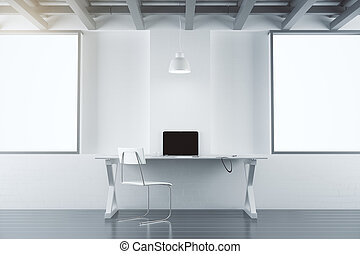 Modern office room with furniture, laptop and blank white posters, mock up