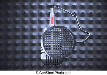 Old style microphone at grey background