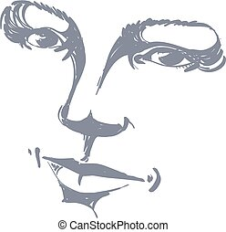 Facial expression, hand-drawn illustration of face of...